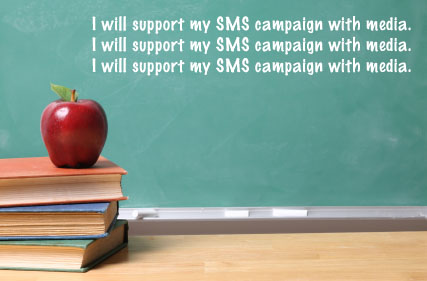 chalkboard with I will support my SMS campaign with media written on it